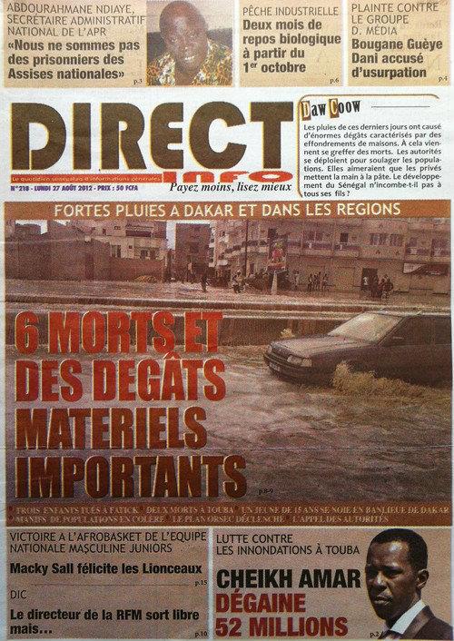 A la Une du Journal Direct Info du 27 Août