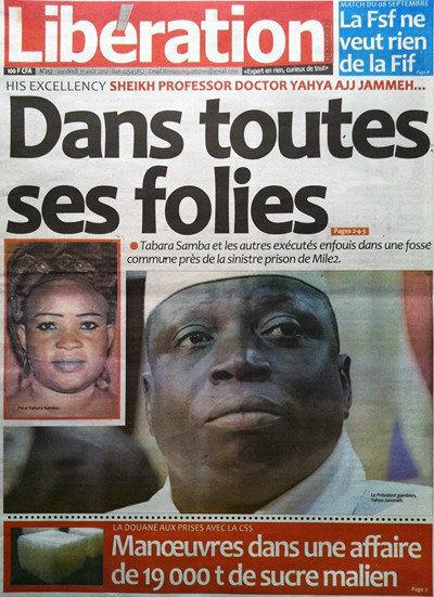 A la Une du Journal Libération du 31 Août