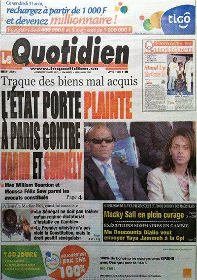 A la Une du Journal Le Quotidien du 31 Août