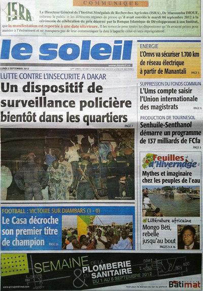 A la Une du Journal Le Soleil du 03 Septembre