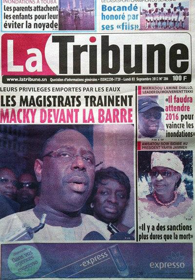 A la Une du Journal La Tribune du 03 Septembre