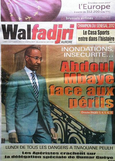 A la Une du Journal Walfadjri du 03Septembre