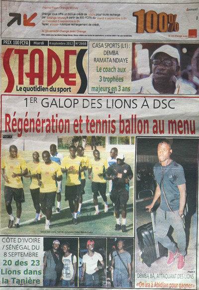 A la Une du Journal Stades du 04 Septembre