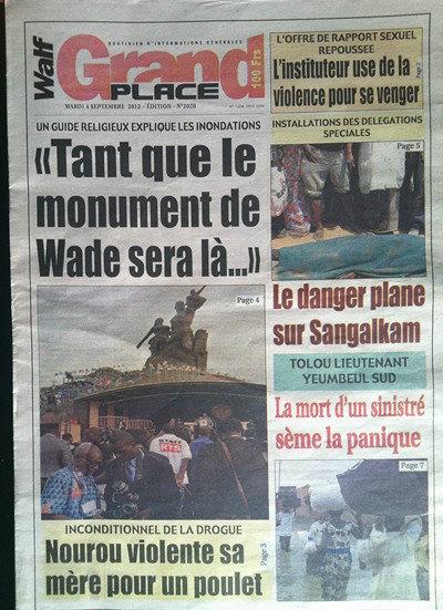 A la Une du Journal Walf Grand Place du 04 Septembre