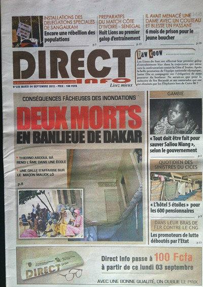 A la Une du Journal Direct Info du 04 Septembre