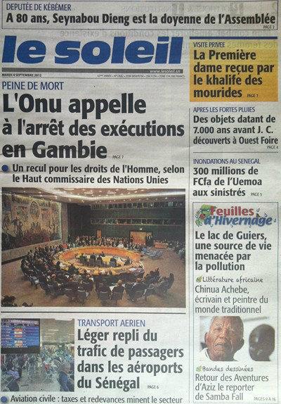 A la Une du Journal Le Soleil du 04 Septembre