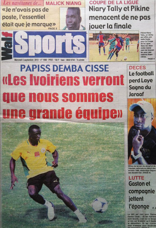 A la Une du Journal Walf Sports du 05 Septembre
