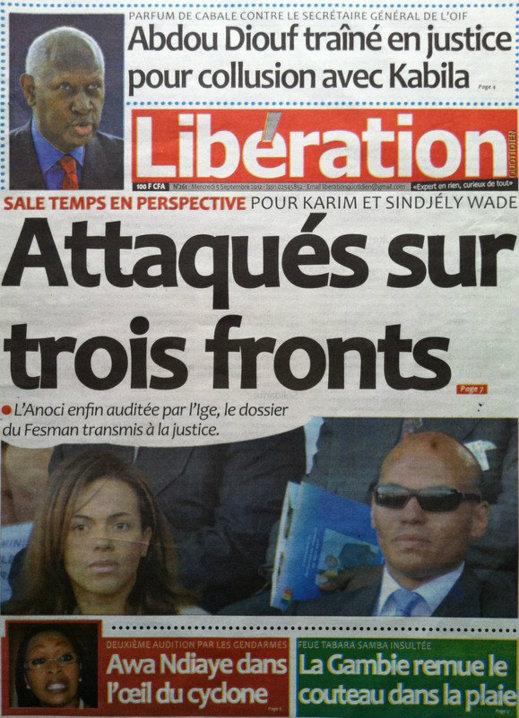 A la Une du Journal Libération du 05 Septembre