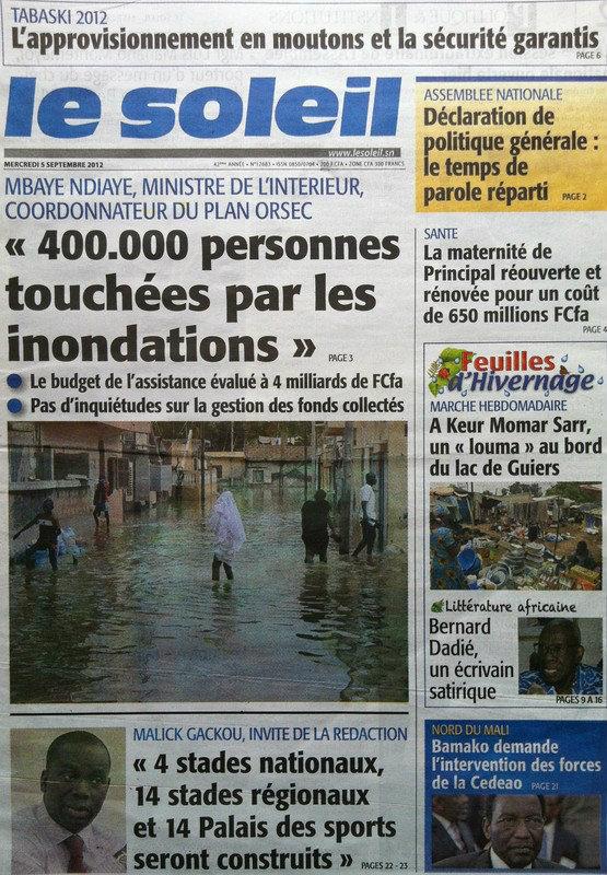 A la Une du Journal Le Soleil du 05 Septembre