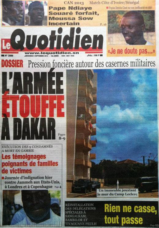 A la Une du Journal Le Quotidien du 05 Septembre