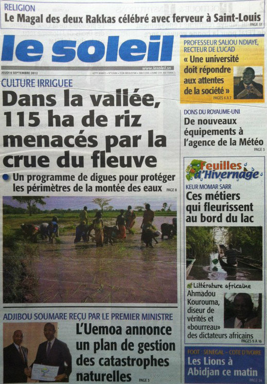 A la Une du Journal Le Soleil du 06 Septembre