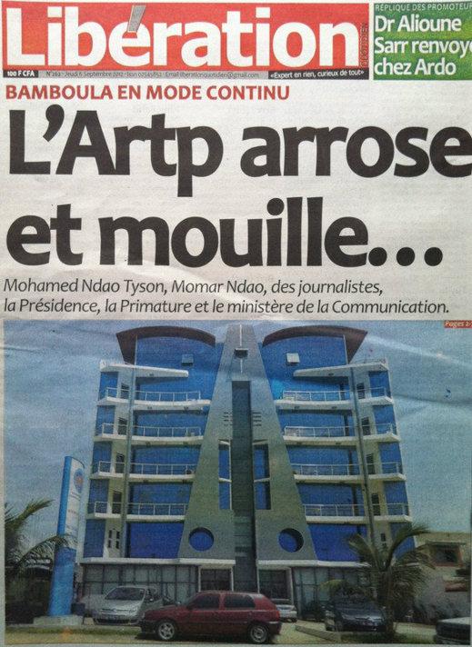 A la Une du Journal Libération du 06 Septembre
