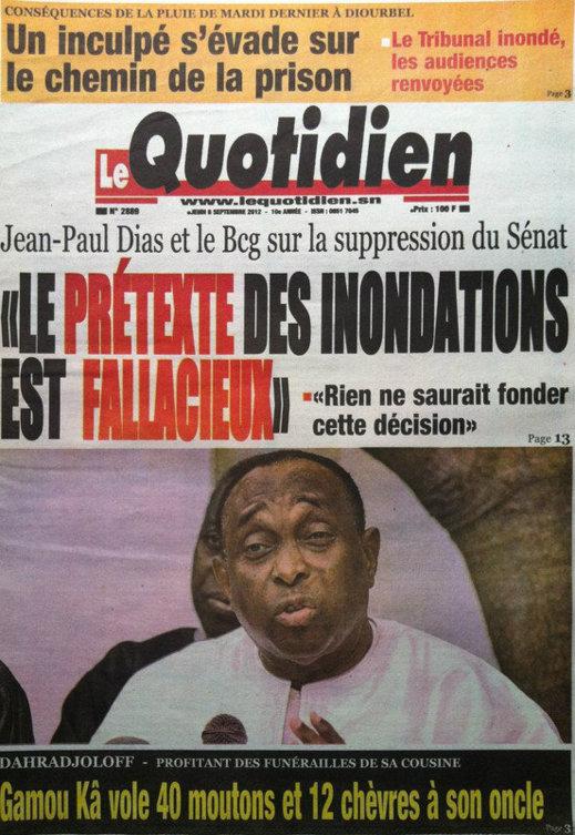 A la Une du Journal Le Quotidien du 07 Septembre