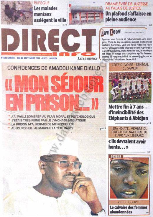 A la Une du Journal Direct Info du 08 Septembre