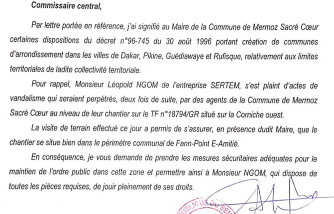 Barthélémy Dias ramené à la raison: le préfet de Dakar confirme l'appartenance du terrain de la SERTEM  à la Commune de Fann...