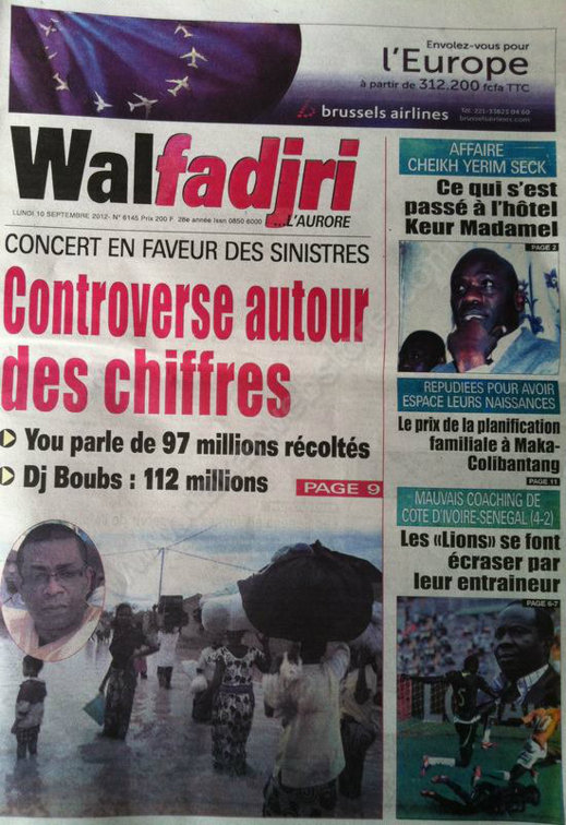 A la Une du Journal Walfadjri du 10 Septembre