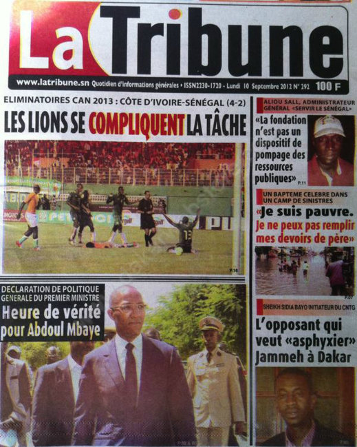 A la Une du Journal La Tribune du 10 Septembre