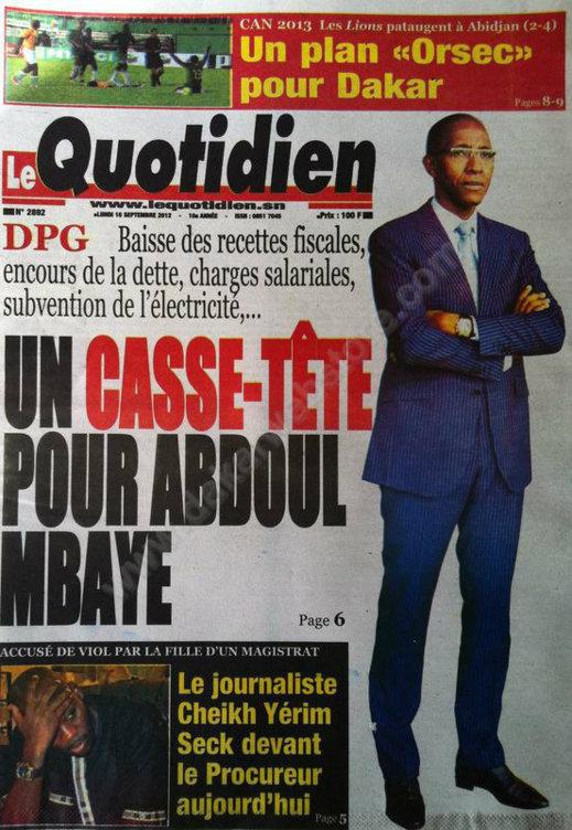 A la Une du Journal Le Quotidien du 10 Septembre
