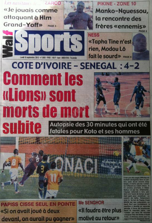 A la Une du Journal Walf Sports du 10 Septembre