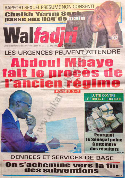 A la Une du Journal Walfadjri du 11 Septembre