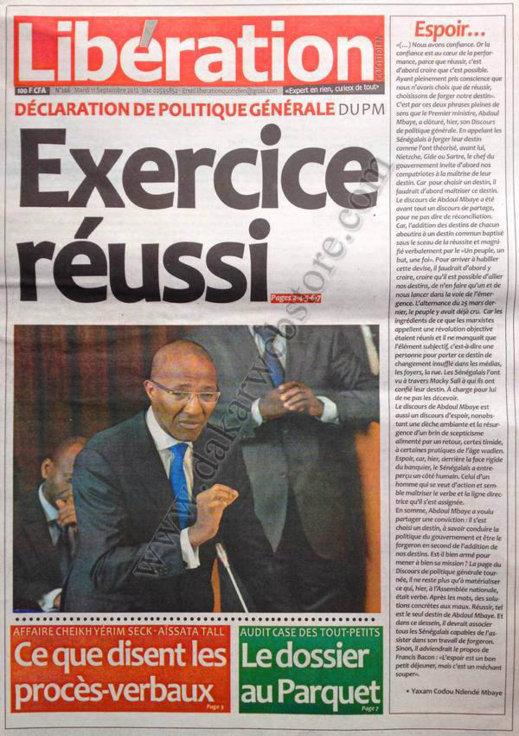 A la Une du Journal Libération du 11 Septembre