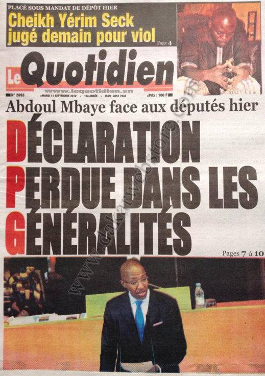 A la Une du Journal Le Quotidien du 11 Septembre