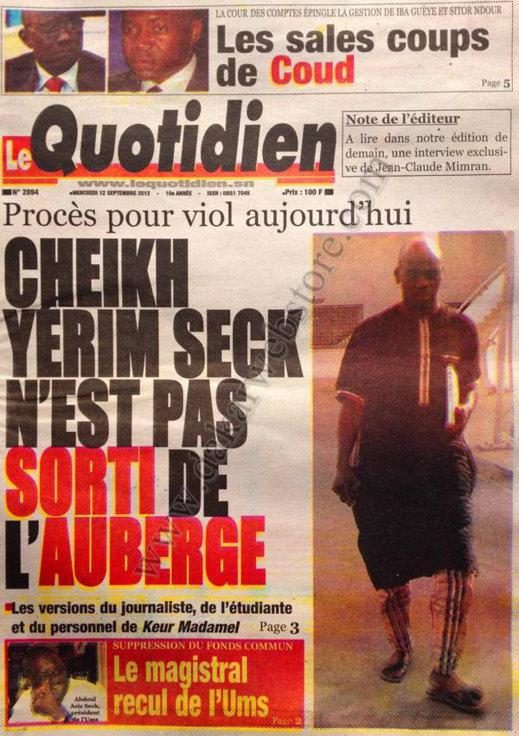 A la Une du Journal Le Quotidien du 12 Septembre