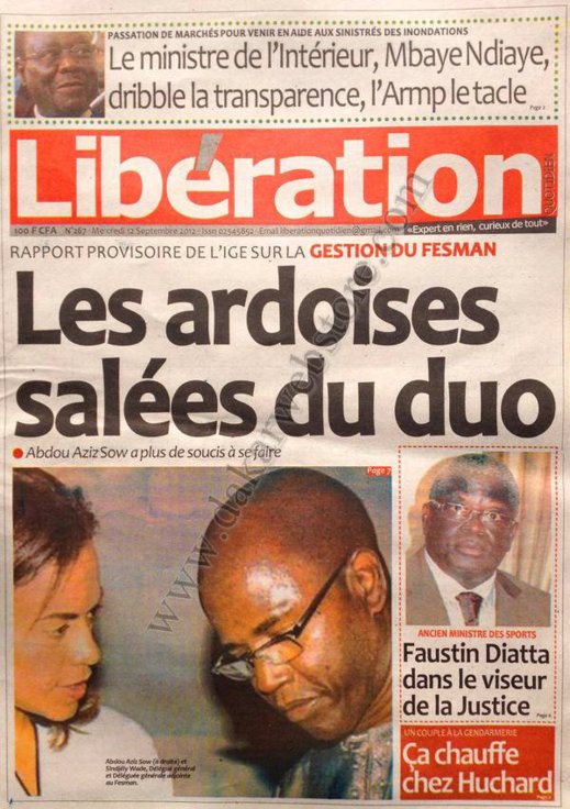 A la Une du Journal Libération du 12 Septembre