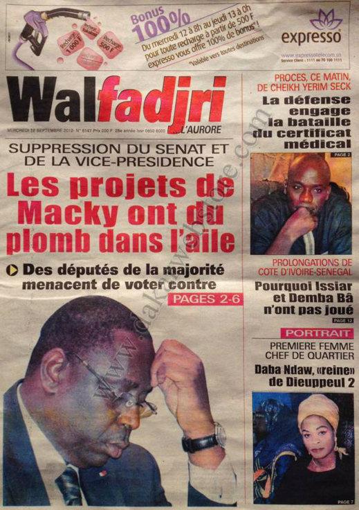A la Une du Journal Walfadjri du 12 Septembre