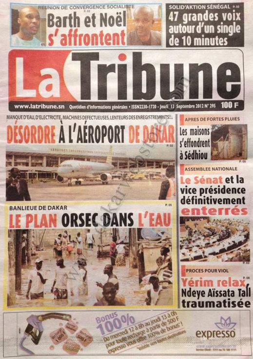 A la Une du Journal La Tribune du 13 Septembre