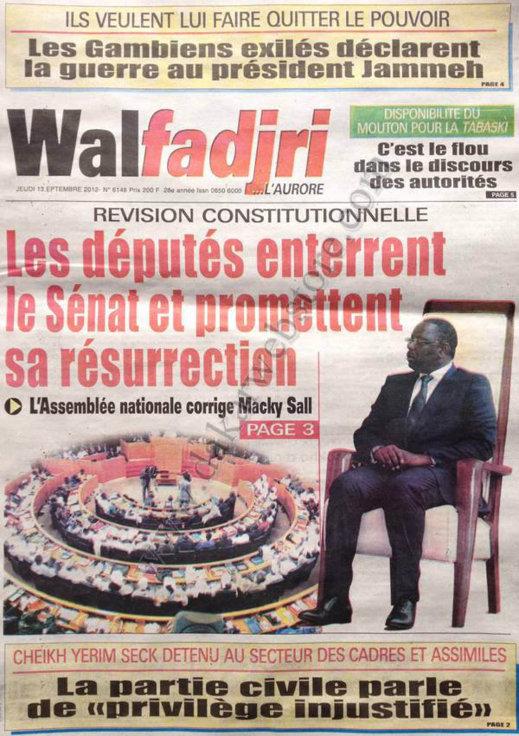 A la Une du Journal Walfadjri du 13 Septembre