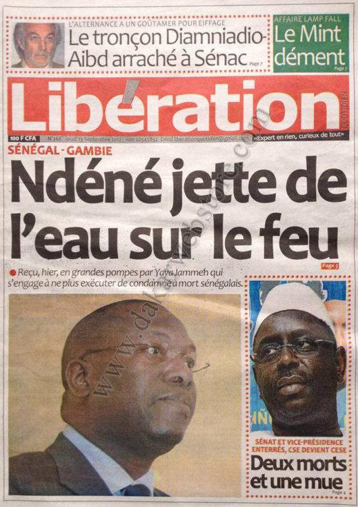 A la Une du Journal Libération du 13 Septembre