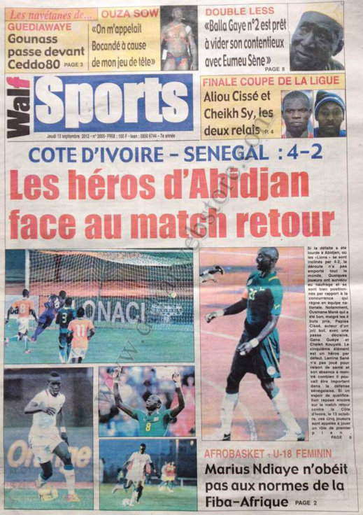 A la Une du Journal Walf Sports du 13 Septembre