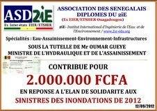 L'Association des Sénégalais Diplômés du 2iE apporte son soutien aux sinistrés des inondations