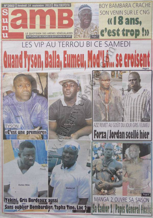 A la Une du Journal Sunu Lamb du 14 Septembre