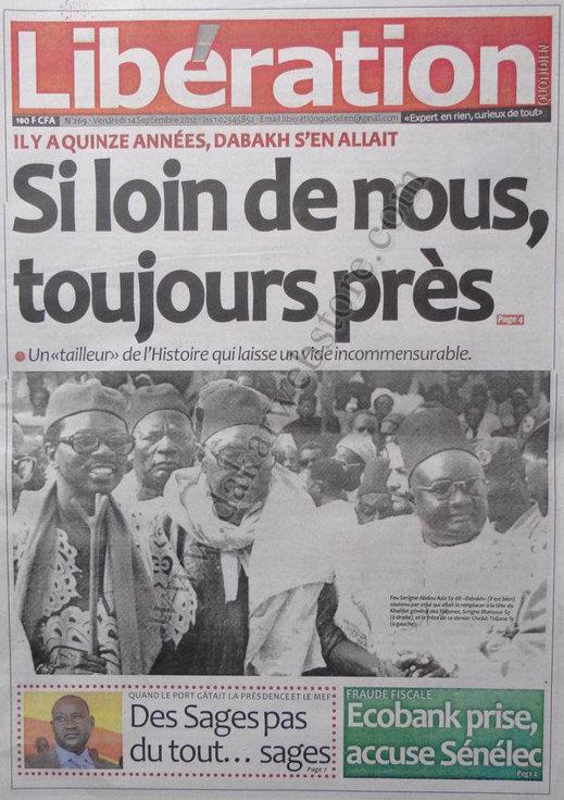 A la Une du Journal Libération du 14 Septembre