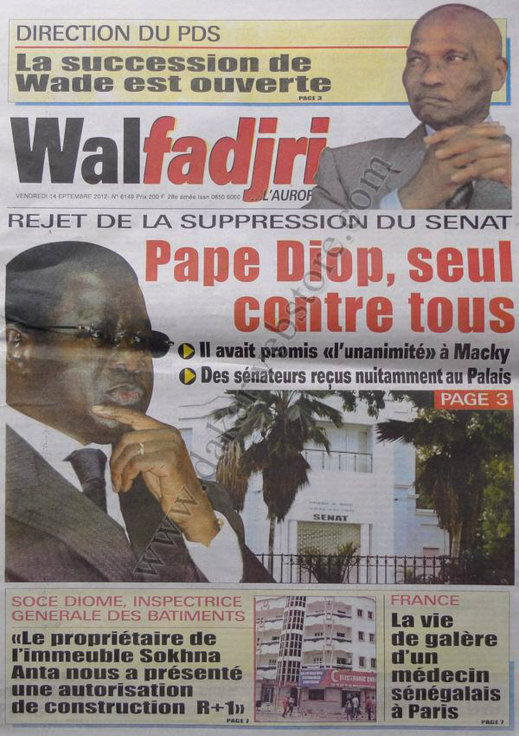 A la Une du Journal Walfadjri du 14 Septembre