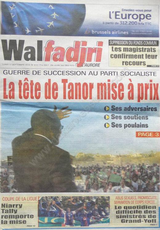 A la Une du Journal Walfadjri du 17 Septembre