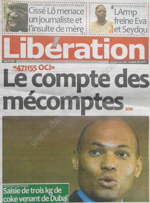 A la Une du Journal Libération du 17 Septembre