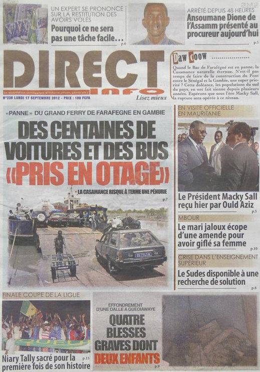 A la Une du Journal Direct Info du 17 Septembre