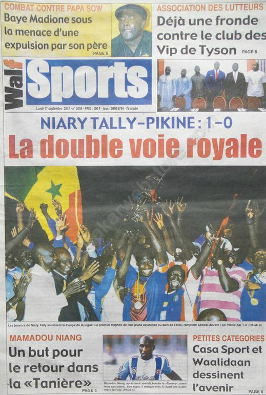 A la Une du Journal Walf Sports du 17 Septembre