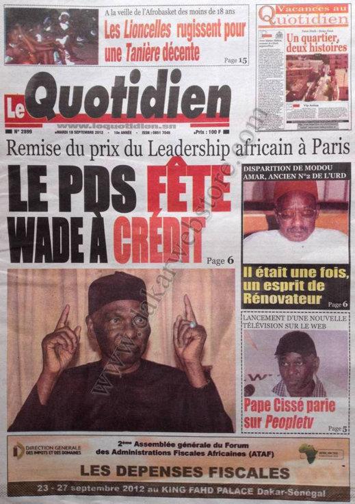 A la Une du Journal Le Quotidien du 18 Septembre
