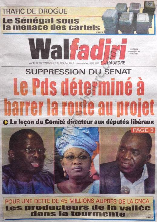 A la Une du Journal Walfadjri du 18 Septembre