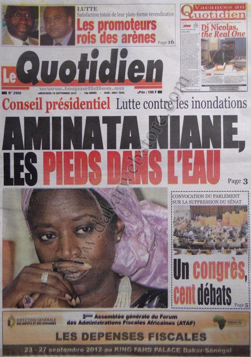 A la Une du Journal Le Quotidien du 19 Septembre