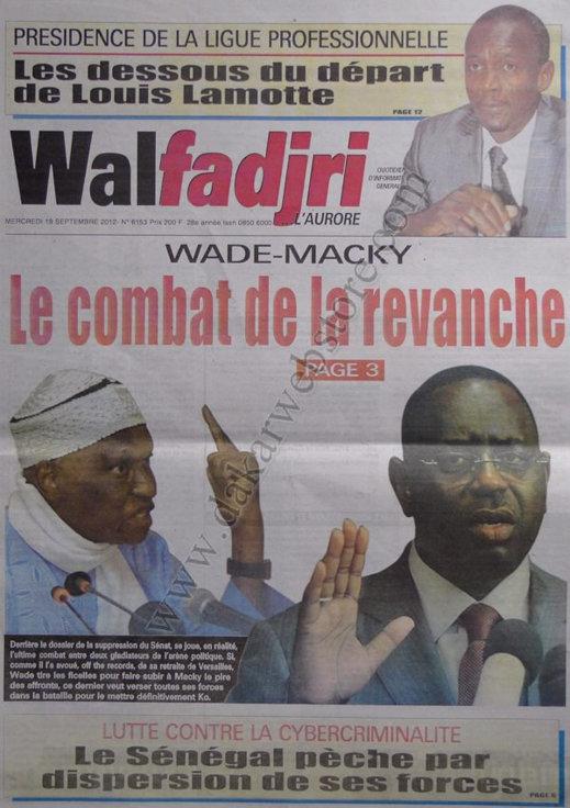 A la Une du Journal Walfadjri du 19 Septembre