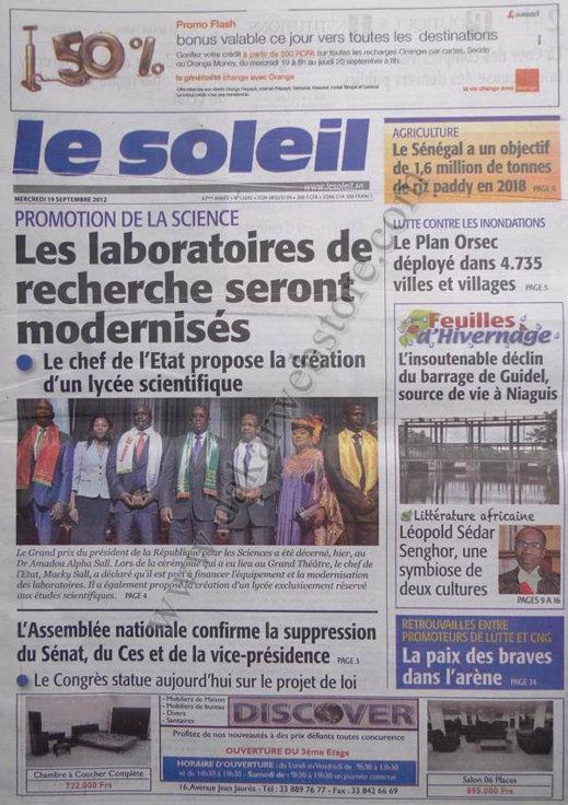 A la Une du Journal Le Soleil du 19 Septembre