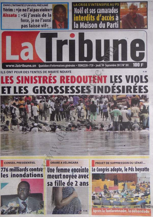 A la Une du Journal La Tribune du 20 Septembre