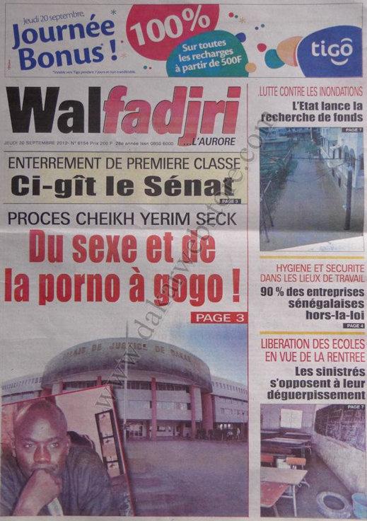 A la Une du Journal Walfadjri du 20 Septembre