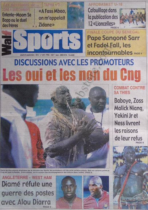A la Une du Journal Walf Sports du 20 Septembre