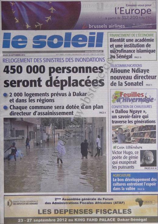 A la Une du Journal Le Soleil du 21 Septembre